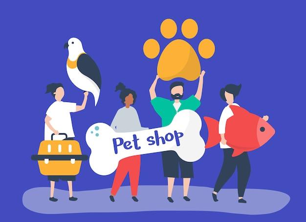 Personas que van a una tienda de mascotas. vector gratuito