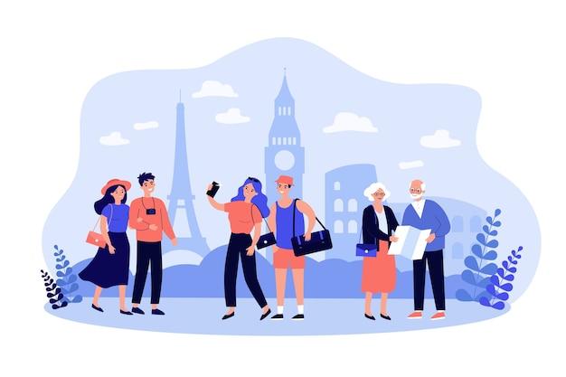 Personas que viajan, caminan por lugares famosos de la ciudad, toman fotografías o selfies, usando un mapa de papel. Vector Premium