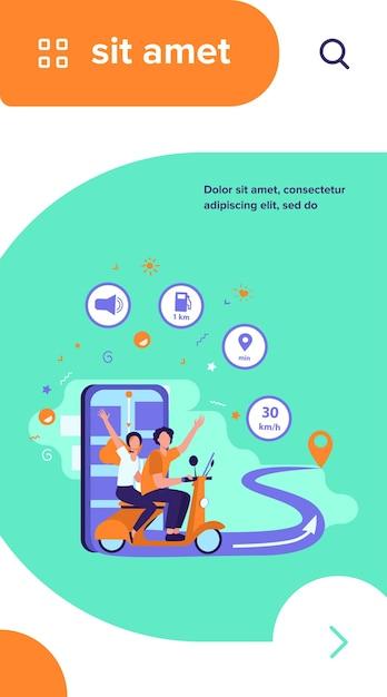 Personas que viajan en scooter, usando la aplicación de navegación y el mapa de la ciudad en el teléfono móvil para rastrear vector gratuito