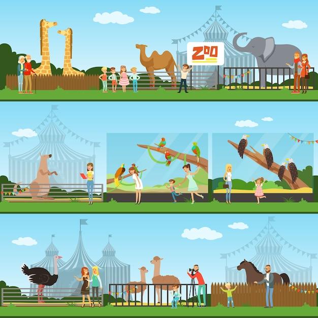Personas que visitan un conjunto de ilustraciones de zoológico, padres con niños viendo animales salvajes, banners de concepto de zoológico Vector Premium