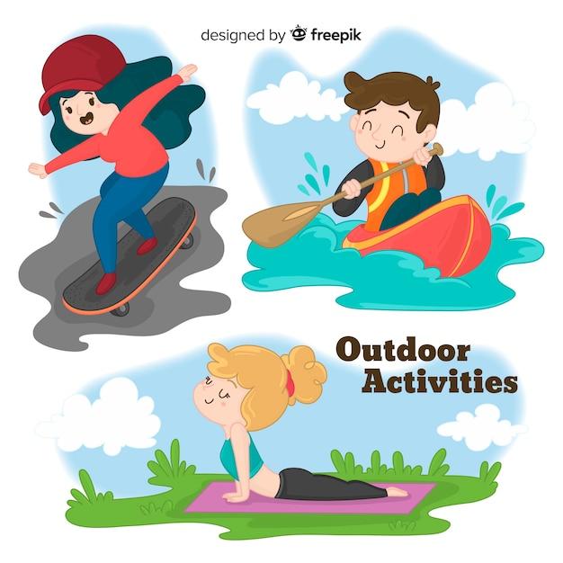 Personas realizando actividades al aire libre vector gratuito