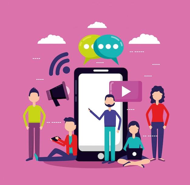 Personas redes sociales y teléfonos inteligentes vector gratuito