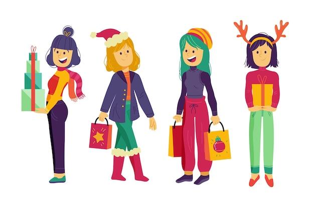 Personas con regalos de navidad vector gratuito
