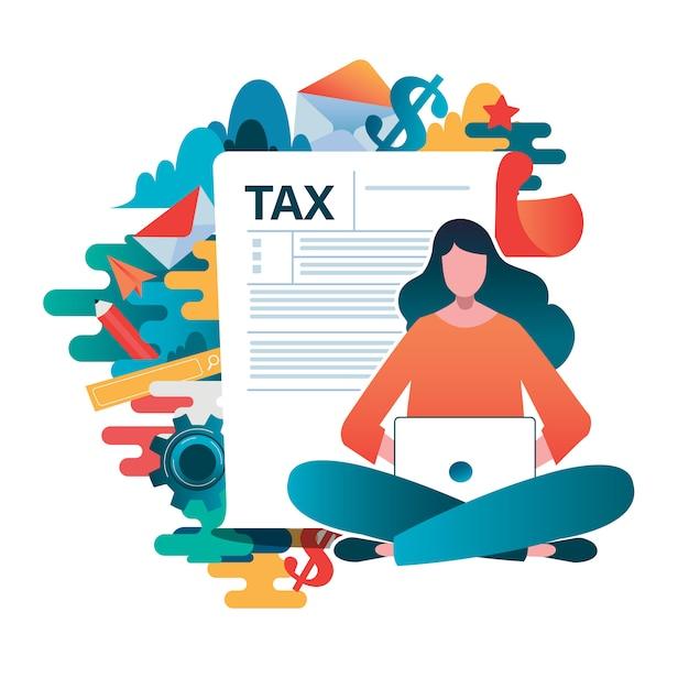 Personas rellenando formulario de solicitud de formulario de impuestos. Vector Premium