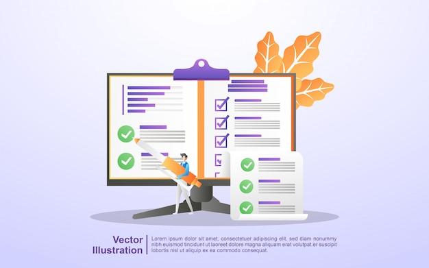Las personas responden preguntas de encuestas en línea, encuestas de investigación, examen en línea, formulario de cuestionario, cuestionario de internet. Vector Premium