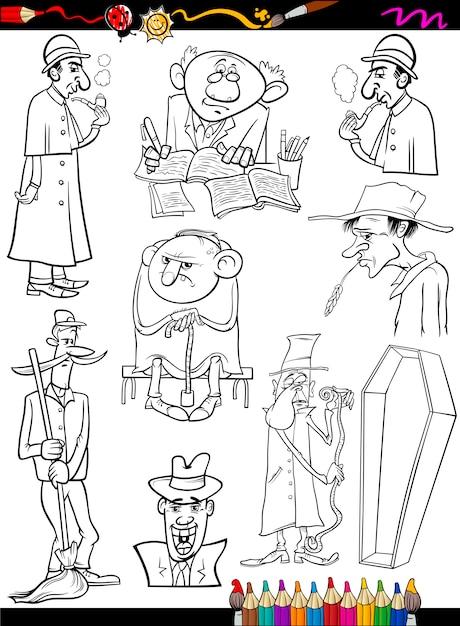 Personas Retro Establecen Dibujos Animados Para Colorear
