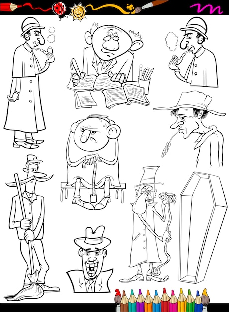Personas retro establecen dibujos animados para colorear página ...
