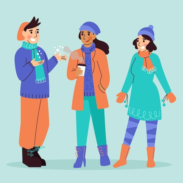 Personas con ropa de invierno acogedora. vector gratuito