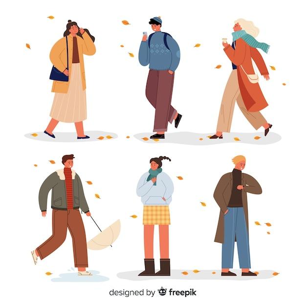 Personas con ropa de otoño ilustración vector gratuito