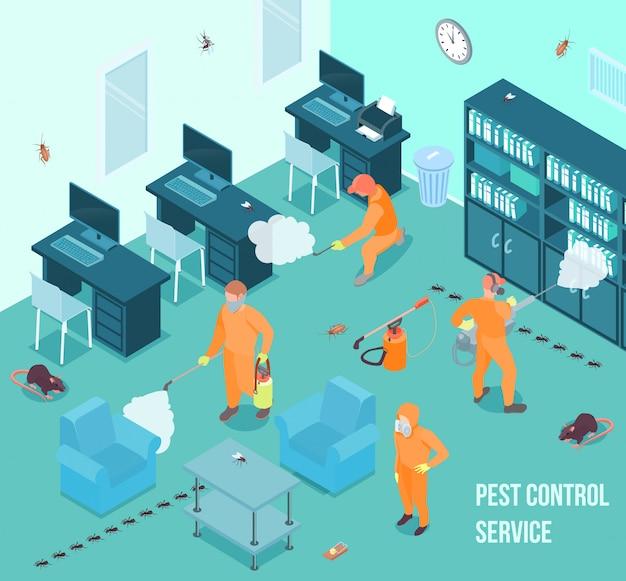 Personas del servicio de control de plagas haciendo desinfección en la oficina ilustración vectorial isométrica 3d vector gratuito