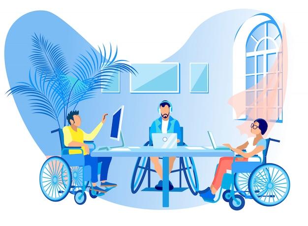 Personas en sillas de ruedas trabajan en línea de dibujos animados plana. Vector Premium