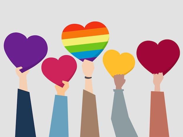 Personas sosteniendo ilustración de corazones vector gratuito