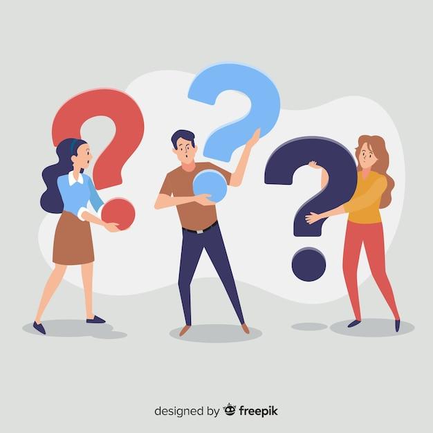 Personas sujetando interrogaciones vector gratuito