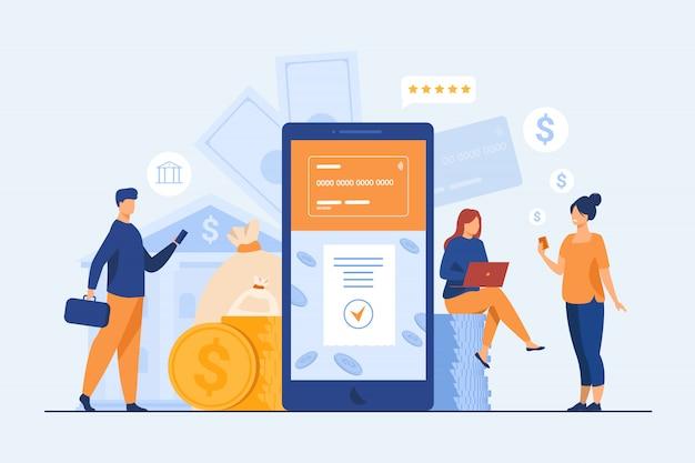 Personas con teléfonos inteligentes que utilizan la aplicación de banca móvil vector gratuito