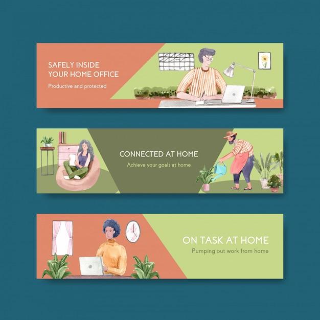 Las personas trabajan desde su casa con computadoras portátiles, pc en la mesa, en el sofá y en el mini jardín. ilustración de acuarela de concepto de banner de oficina en casa vector gratuito