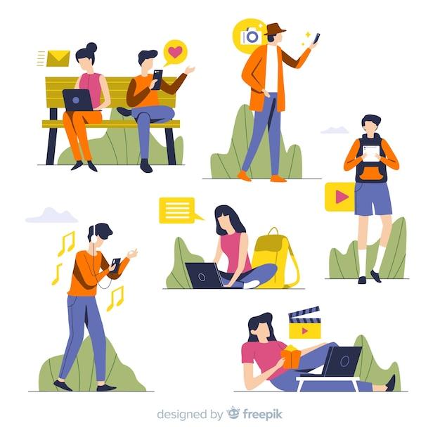 Personas usando aparatos tecnológicos vector gratuito