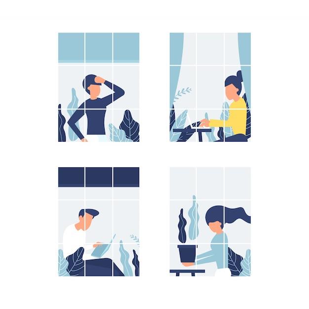 Personas en ventanas que se quedan en casa debido a la cuarentena. trabajar desde casa concepto. Vector Premium