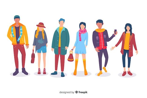Personas vestidas con ropa de otoño vector gratuito