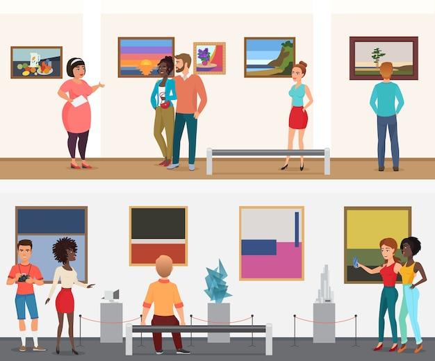 Personas de visitantes del museo de vectores en el museo de la galería de exposiciones de arte mirando imágenes y otros objetos de exhibiciones de arte Vector Premium