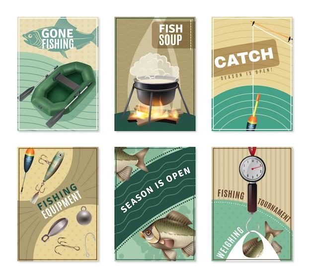 Pesca en agua dulce 6 impresiones de carteles colección vector gratuito