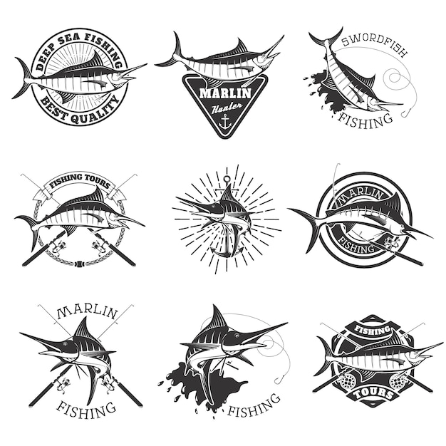 Pesca de marlin. iconos de pez espada. pesca de mar profundo. elementos de diseño para emblema, signo, marca. Vector Premium