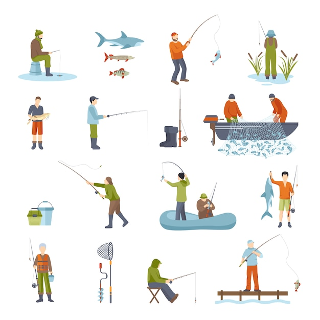Pesca personas pescado y herramientas iconos conjunto vector gratuito