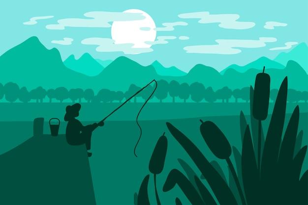 Pescador con caña de pescar Vector Premium