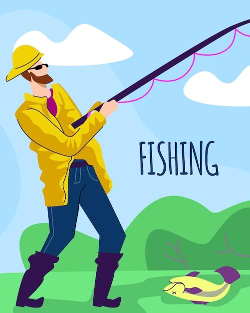 Pescador en manto amarillo con caña en la costa del lago Vector Premium