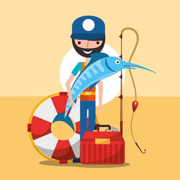Pescador pescando dibujos animados Vector Premium