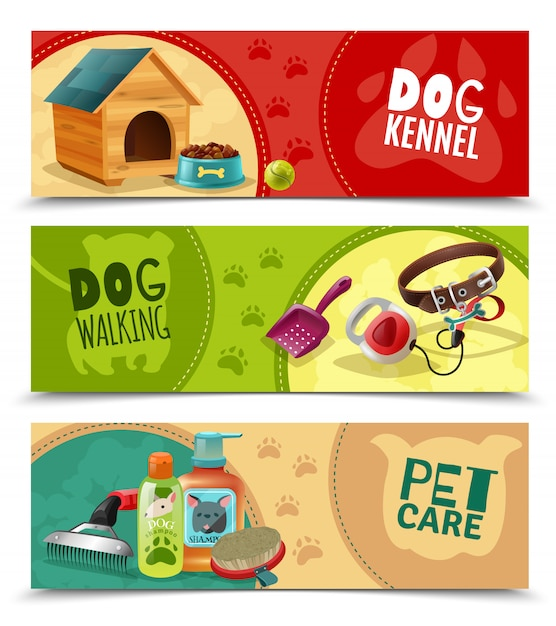 Pet care 3 banners horizontales establecidos vector gratuito