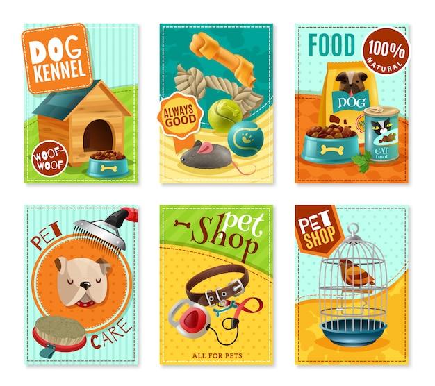 Pet care 6 mini banners set vector gratuito