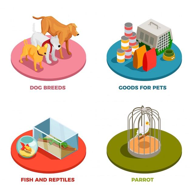 Pet shop 2x2 concepto de diseño vector gratuito