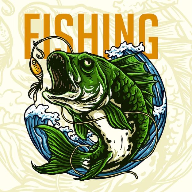 Pez depredador para el logo del club de pesca Vector Premium