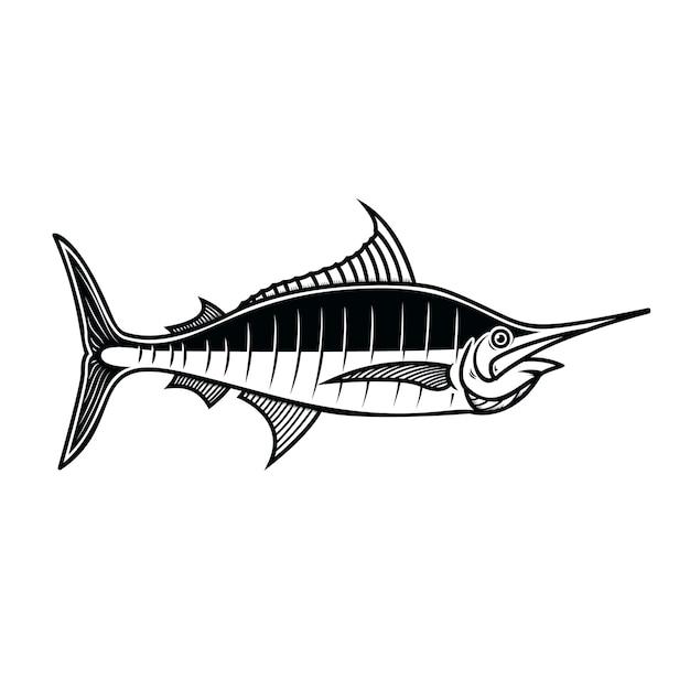 Pez espada. elemento de diseño de logotipo, etiqueta, emblema, letrero, cartel. ilustración vectorial Vector Premium