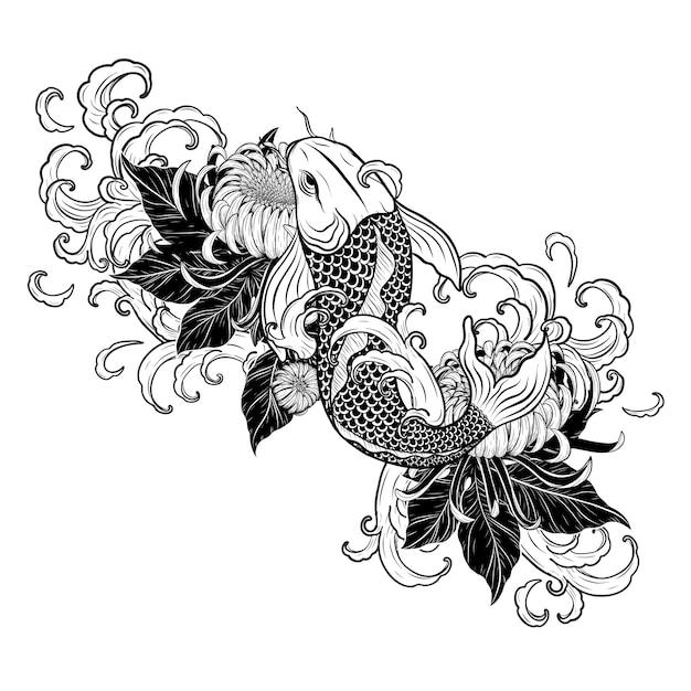 Pez Koi Y Tatuaje De Crisantemo A Mano Descargar Vectores Premium