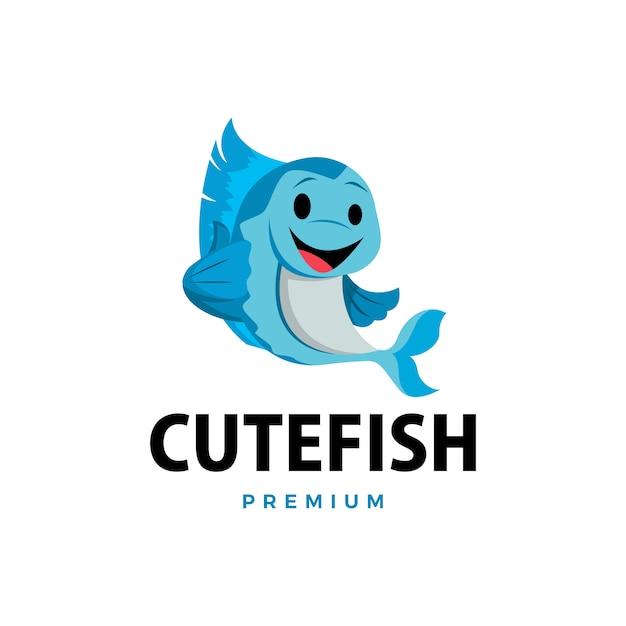 Pez pulgar arriba mascota personaje logo icono ilustración Vector Premium