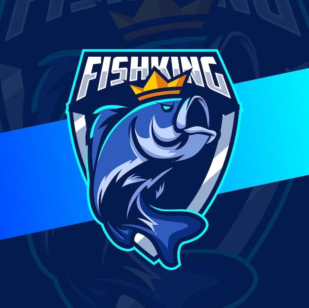 Pez rey mascota de pesca esport logo diseño Vector Premium