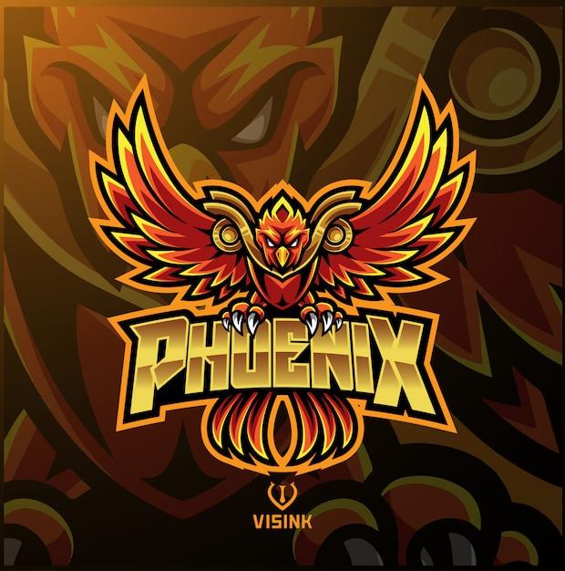 Phoenix sport mascot logo Vector Premium