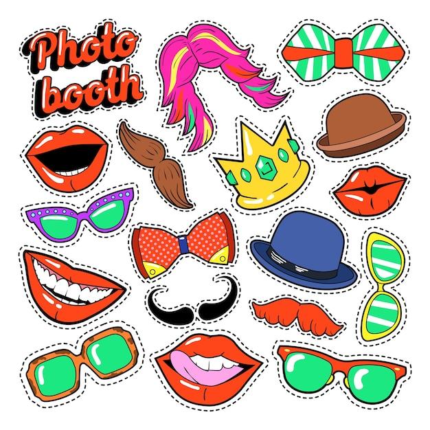 Photo booth party set con gafas, bigote, sombreros y labios para pegatinas y accesorios. garabatear Vector Premium