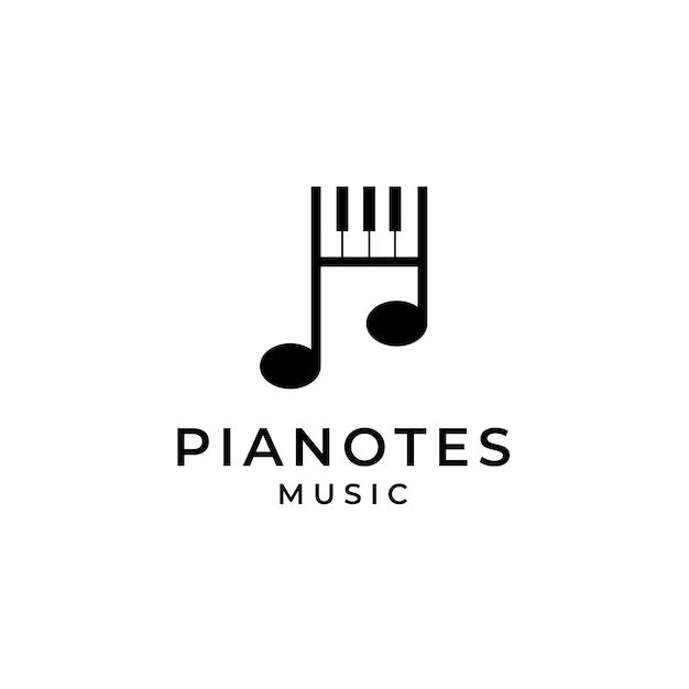 Piano music note logo Vector Premium