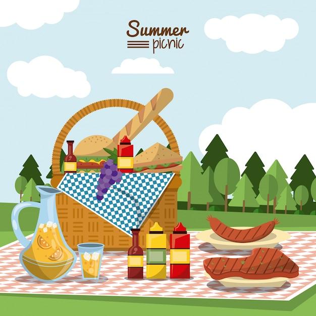 Picnic de verano con cesta de picnic llena de comida en mantel ...