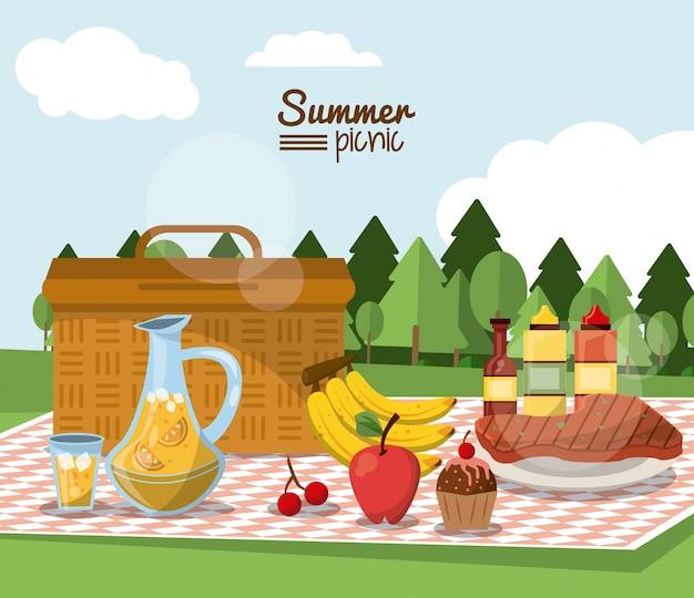 Picnic de verano con paisaje y cesta de picnic en mantel | Descargar ...