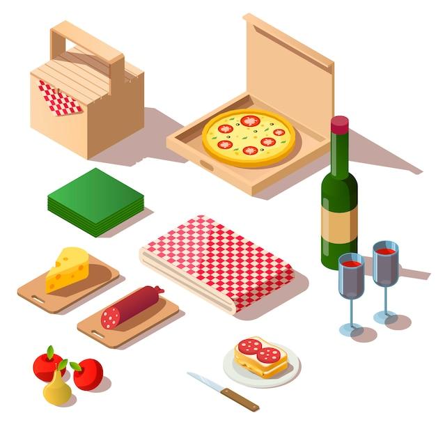 Picnic isométrico con pizza y vino. vector gratuito