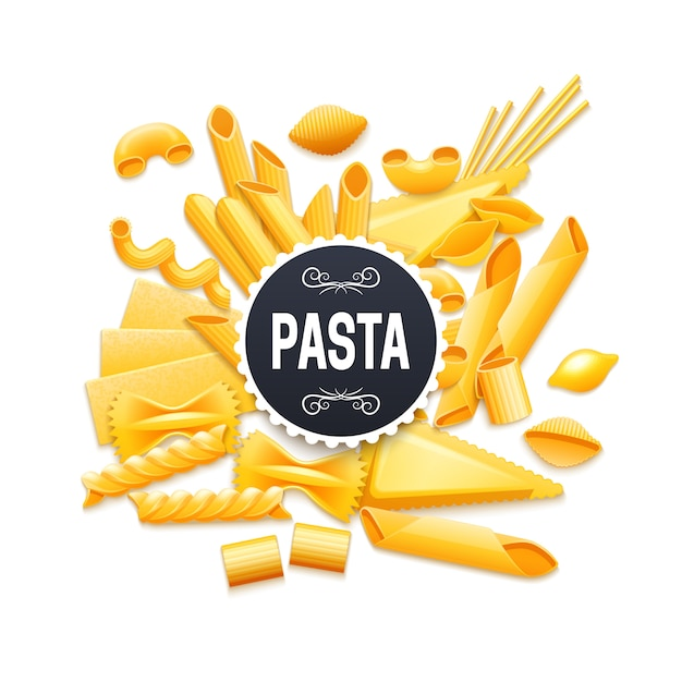 Pictograma de variedades de pasta seca tradicional italiana para el título de la etiqueta del paquete del producto vector gratuito