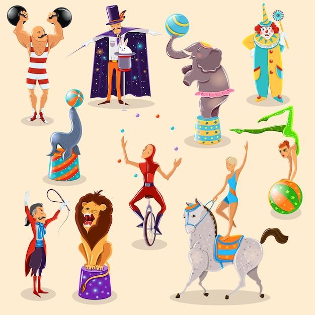 Los pictogramas del vintage del circo fijaron la disposición vector gratuito