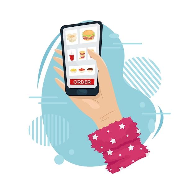 Pide comida a casa en la aplicación móvil. entrega de comida a domicilio. Vector Premium