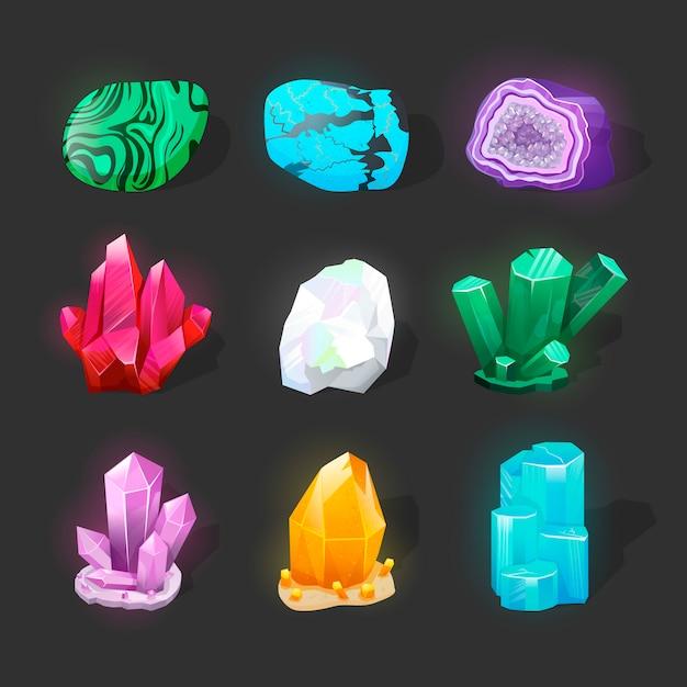 Piedra cristalina o gema. preciosa piedra preciosa. Vector Premium