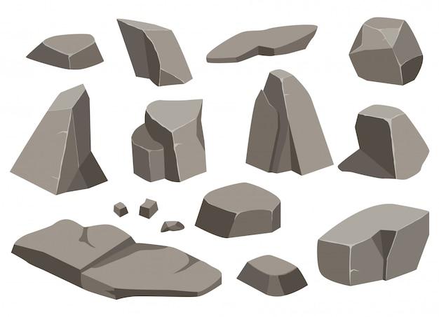 Piedra de roca gran conjunto de dibujos animados. conjunto de diferentes rocas. adoquines de varias formas. Vector Premium
