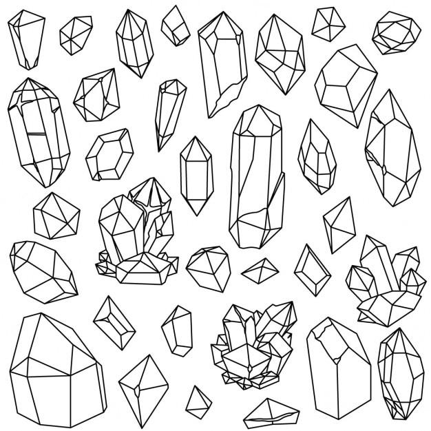 Piedras preciosas dibujadas a mano vector gratuito