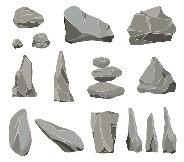 Piedras de roca. la piedra de grafito, el carbón y las rocas se amontonan para el guijarro de pared o montaña. Vector Premium